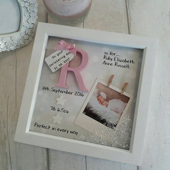 New Baby Gift Girl Christening 1st Birthday Goddaughter Frame Nursery Print Personalised