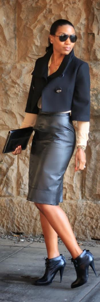 Leather pencil skirt, ...... very cute for girls night out, date ...