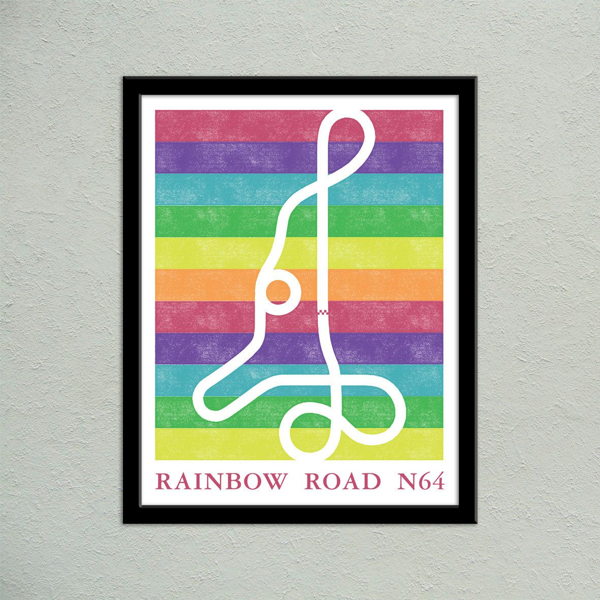 Mario kart 64 rainbow road track map poster super mario kart map mario kart 64 rainbow road track map poster super mario kart map print video game world map art geeky christmas gift video game art mario kart 64 gumiabroncs Image collections