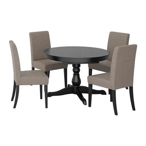 INGATORP / HENRIKSDAL Table and 4 chairs, black, Nolhaga gray-beige ...