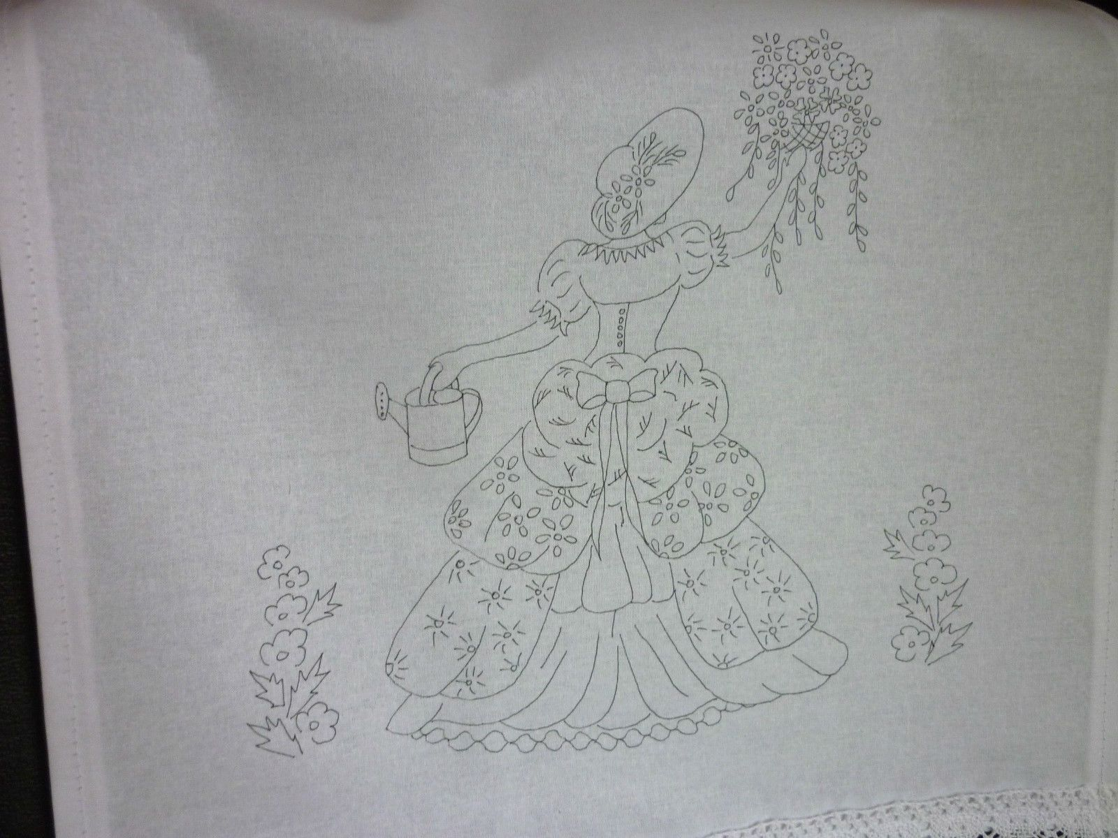 Printed Embroidery Pair Chair Back Covers White 100 Cotton Lace Crinoline Lady | eBay
