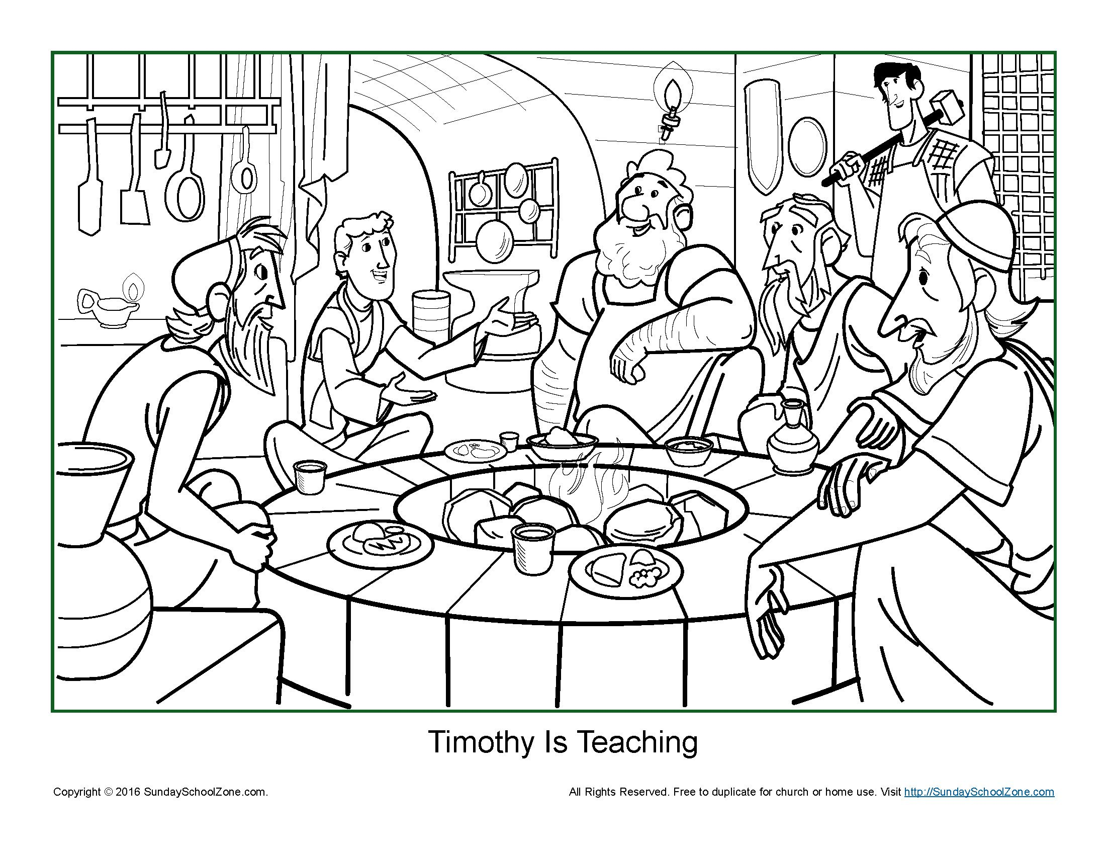 Timothy Is Teaching Coloring Page Bible Activities Bible