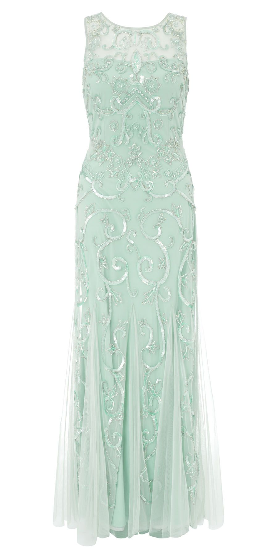 Karla Sequin Beaded Evening Gown Sage. This stunning full-length ...