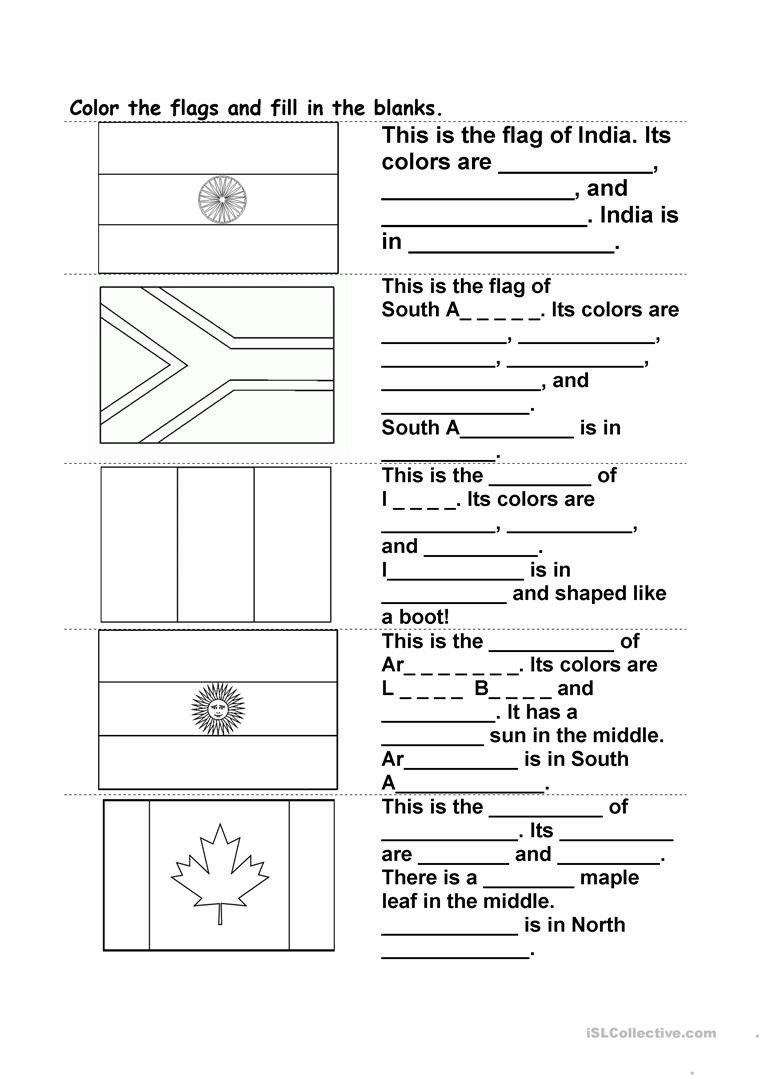 Blank Number Line Worksheet Color the Flag and Fill In the