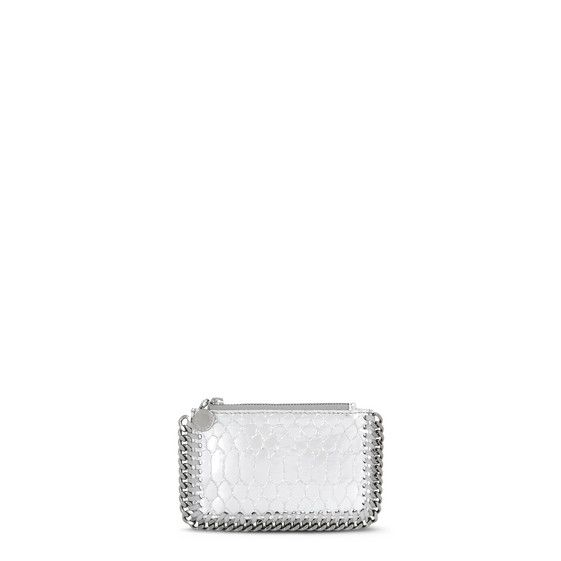 Silver Falabella Metallic Alter Snake Card Holder - Stella Mccartney Official Online Store - FW 2016 - 2017