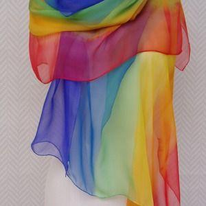 2d50cdb5ee9 Echarpe étole foulard mousseline de soie