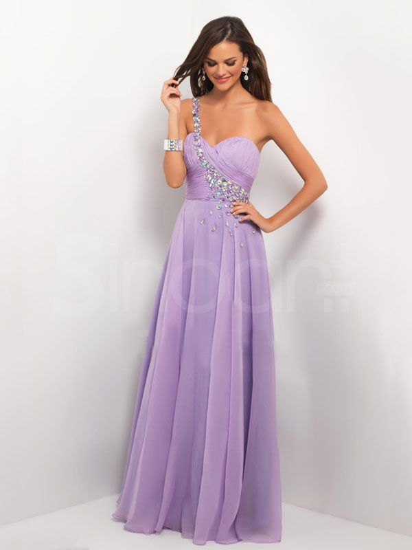 Attractive Lilac A-line One-shoulder Neckline Floor Length Prom ...