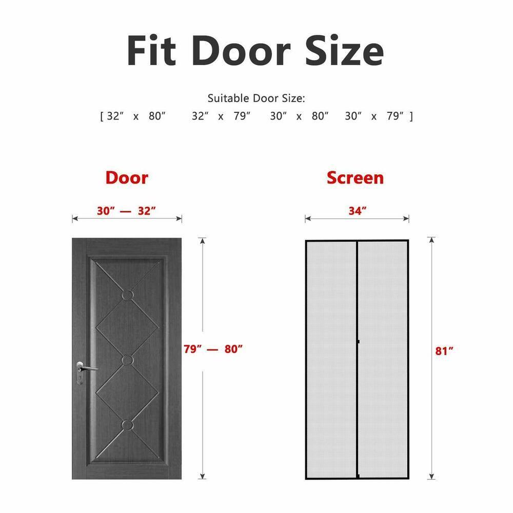 Fiberglass Sliding Door Mesh Curtain MAGZO Magnetic Screen Door 72 x 96