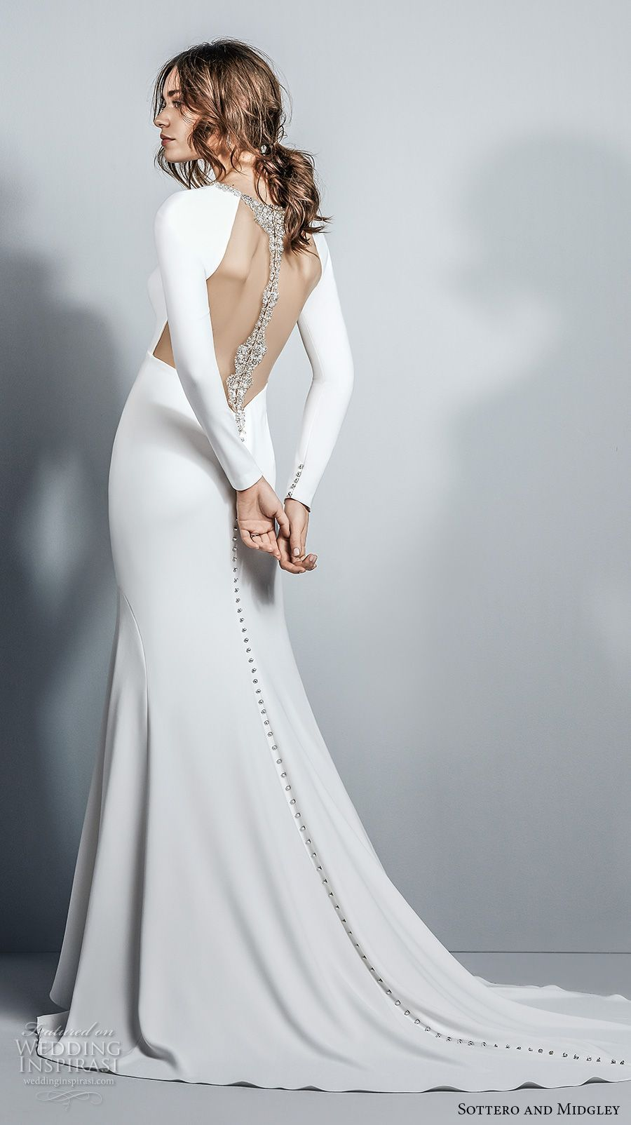 Sottero midgley fall long sleeves halter neckline simple clean