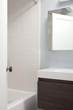Hallway Bathroom Midcentury Bathroom White Subway Tile In Line