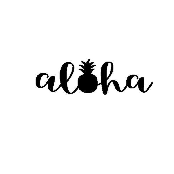 Aloha pineapple vinyl decal sticker welcome hawaii tropical luau pina 104