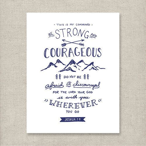 Christian Art Print Downloads  Be Strong and Courageous    Etsy