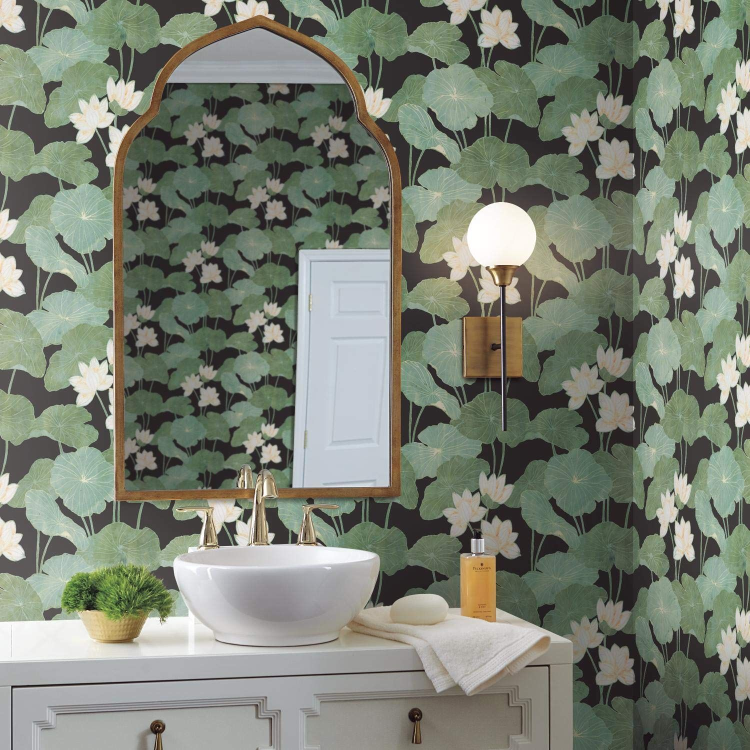 RoomMates Black Lily Pads Peel and Stick Wallpaper ...