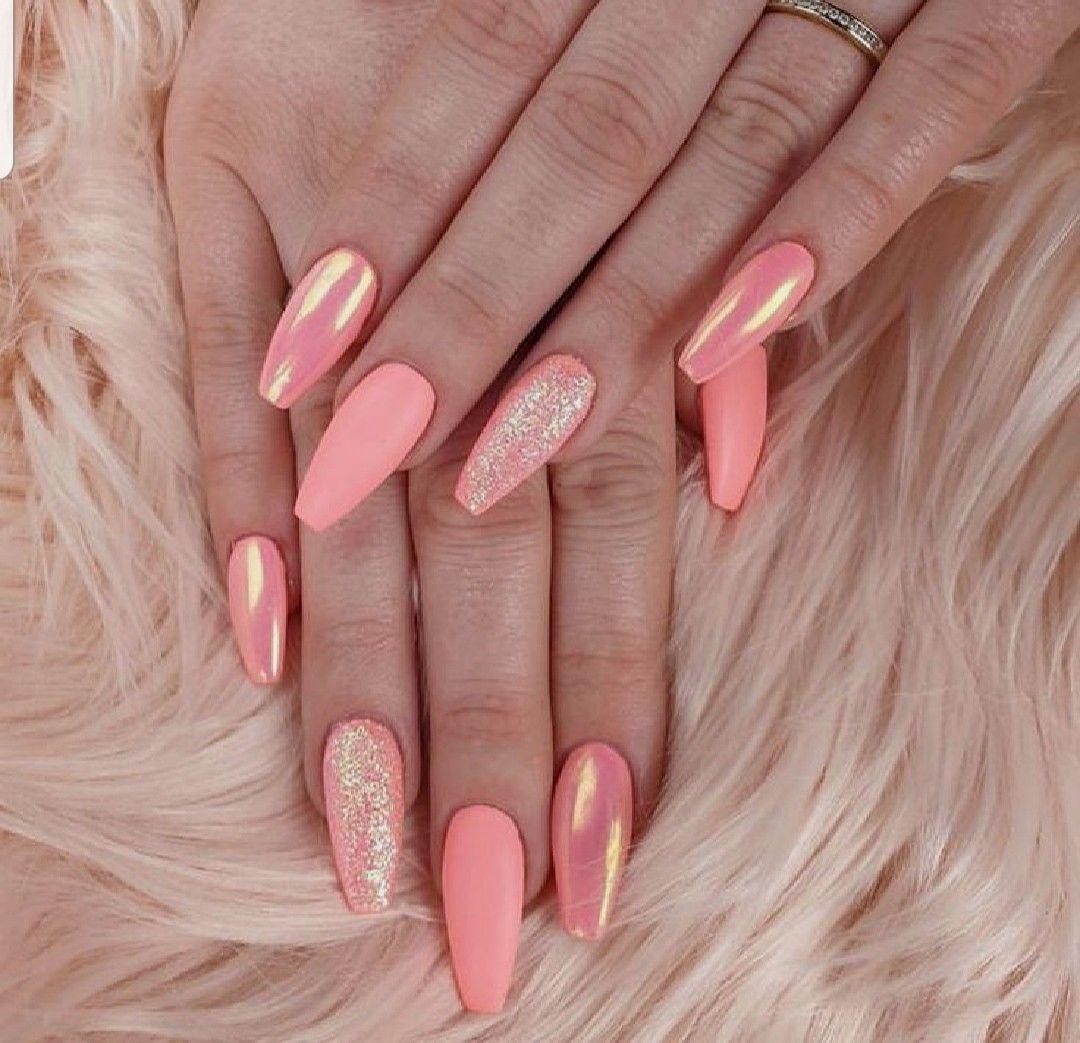 Pin By Diamond Bergeron On Naglar Coral Nails With Design Neon Coral Nails Coral Nails Glitter