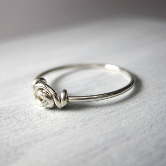 Promise Ring Love Knot Ring Wire Wrapped STERLING SILVER Valentine\'s ...