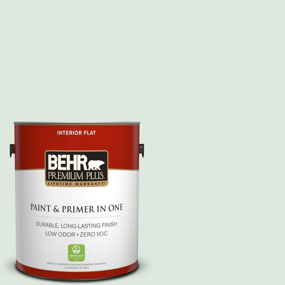 BEHR Premium Plus 1-gal. #460E-1 Meadow Light Zero VOC Flat Interior Paint