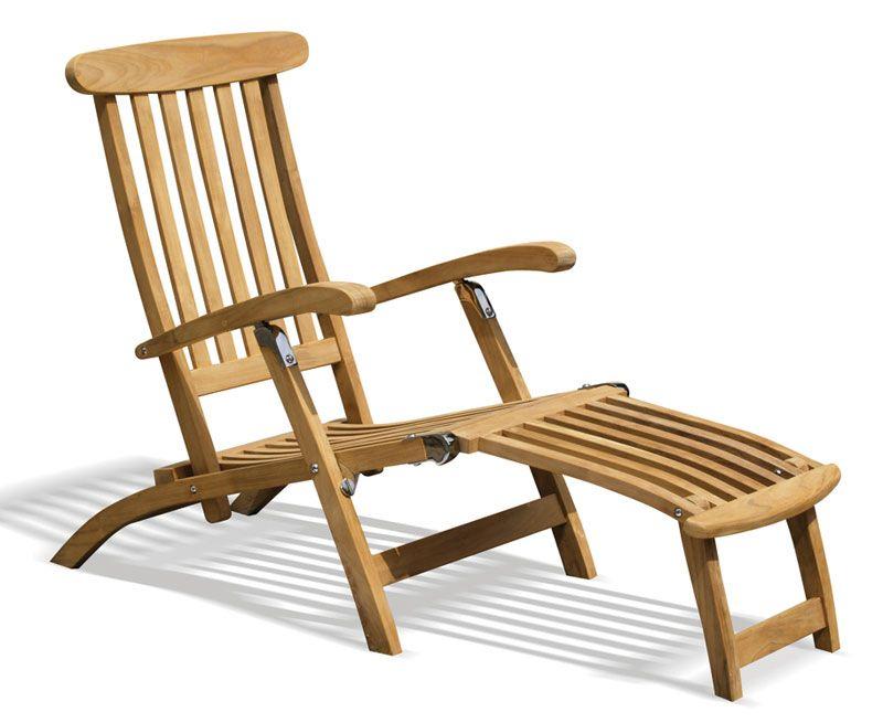 Halo Teak Steamer Chair Chrome Fittings Cushion Teak Furniture Deck Chairs Teak Garden Furniture