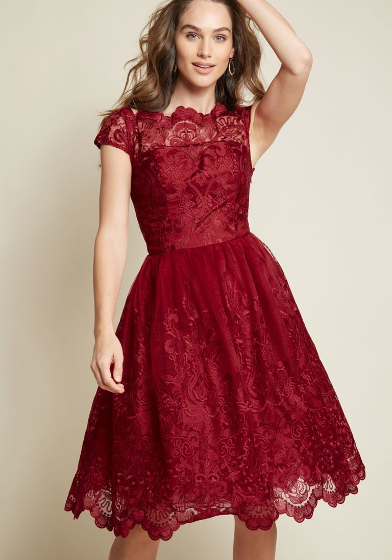 4c28e8171a Chi Chi London Exquisite Elegance Lace Dress in Burgundy in 16 - Cap Fit &  Flare Midi by Chi Chi London from ModCloth