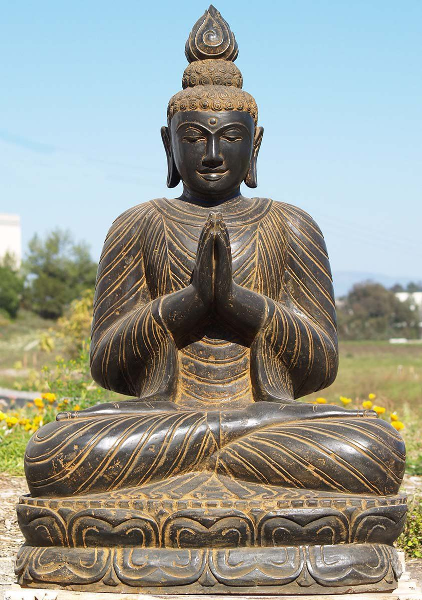 Sold Namaste Stone Buddha Sculpture 44 Buddha Statues Pinterest