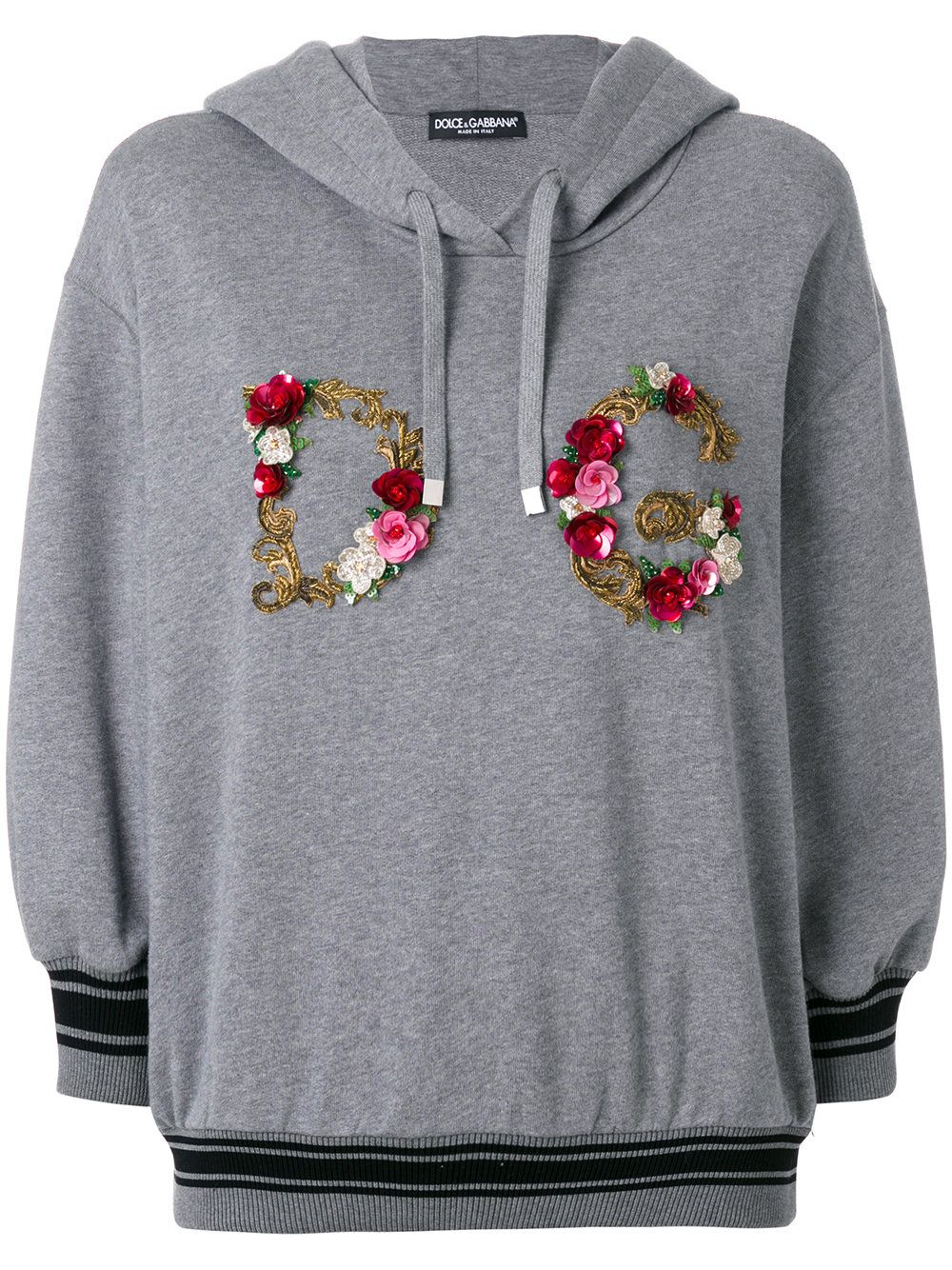 Dolce & Gabbana floral embroidery logo hoodie Hoodies