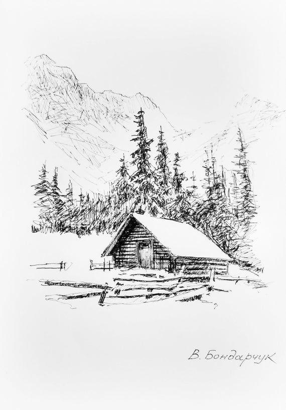 Winter Mountains Forest Hut Original Author's Draw