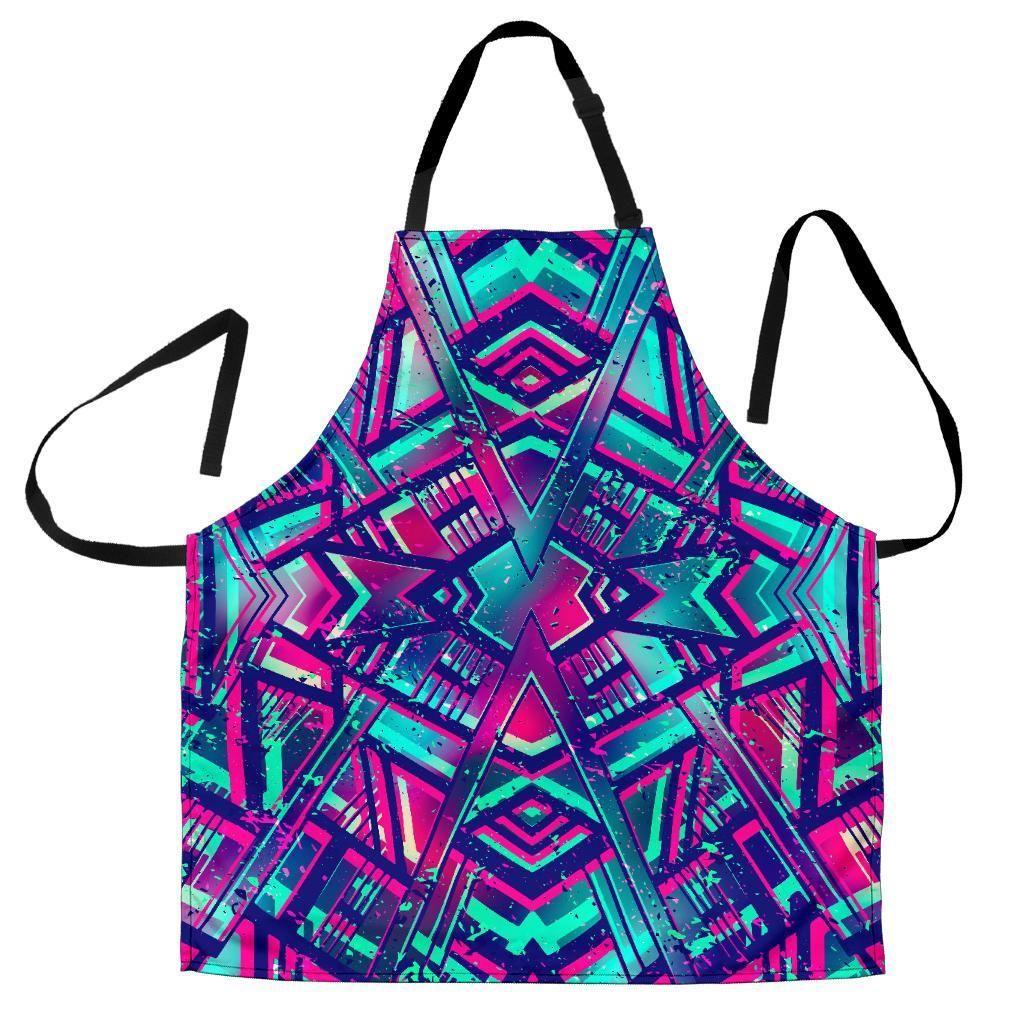 Neon Ethnic Aztec Trippy Print Men's Apron