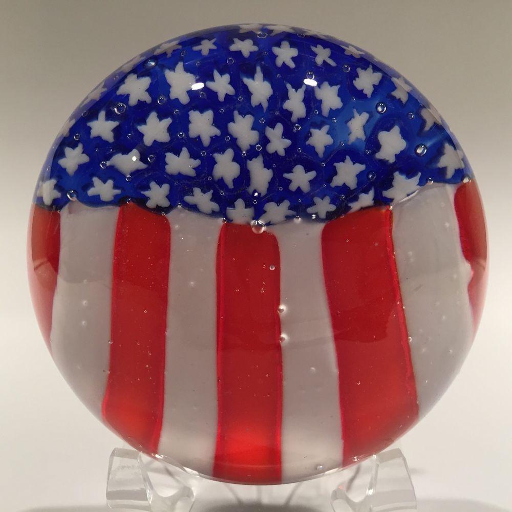 Vintage American Flag Art Glass Paperweight Millefiori