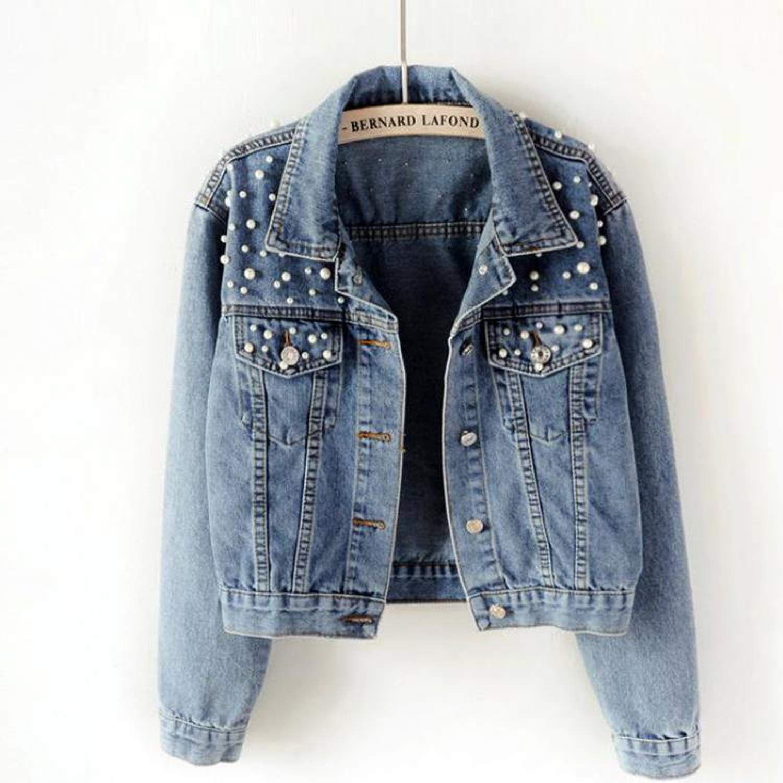 2020 Spring Women Light Blue Pearl Beading Slim Denim Jackets Korean Fashion Streetwear Pea In 2020 Denim Jacket Women Vintage Denim Jacket Womens Vintage Denim Jacket [ 1500 x 1500 Pixel ]
