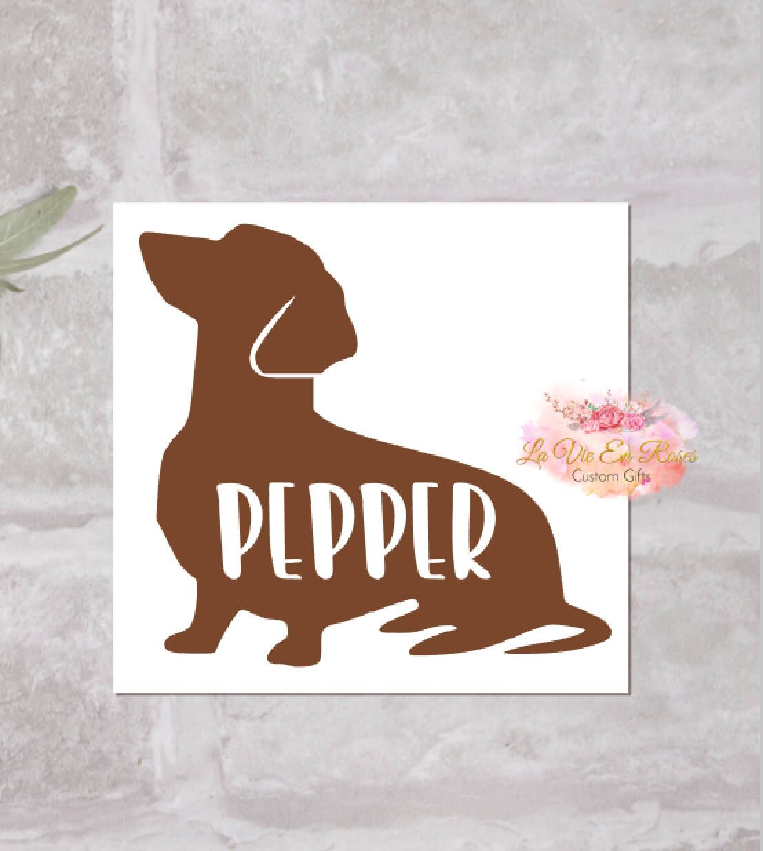Dachshund Decal Weenie Dog Decal Custom Name Decal Etsy Decals For Yeti Cups Dog Decals Cup Decal [ 1236 x 1108 Pixel ]