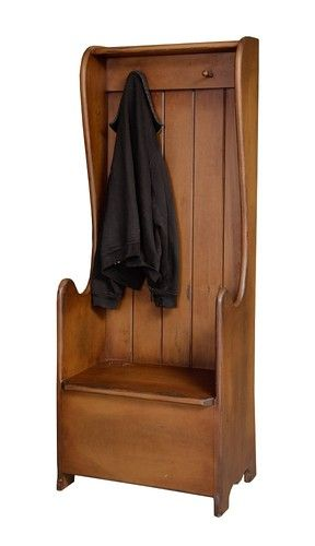 Primitive Settle Bench Entryway Storage Hall Tree Farmhouse Country Coat Rack Primitive