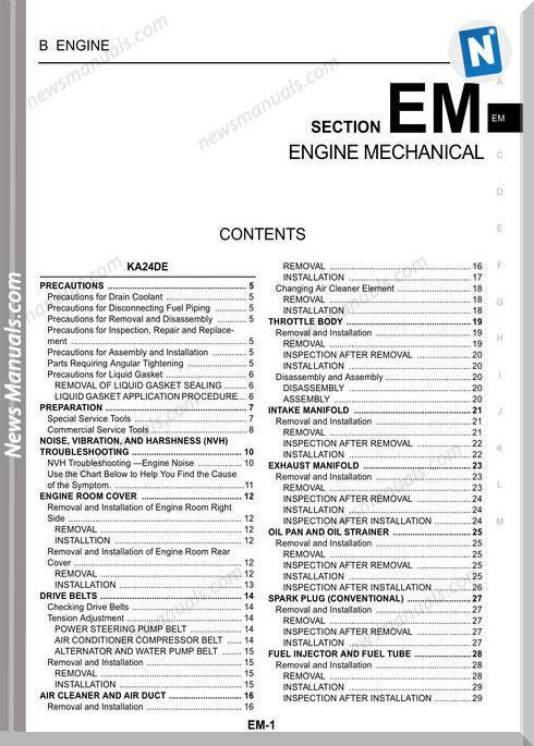Nissan Zd30Dd And Ka24De Engines Service Manual in 2020