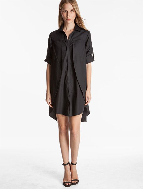 Halston Heritage Cotton Shirtdress With Belt Black Perfect Easy Piece For Travel