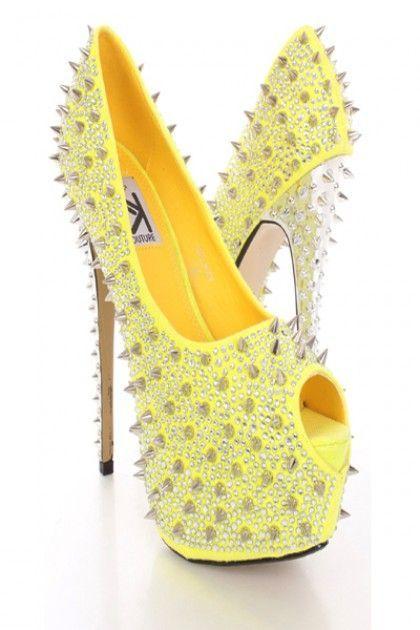 Yellow Rhinestone Spike Studded Platform Pump Heels @ Amiclubwear ...
