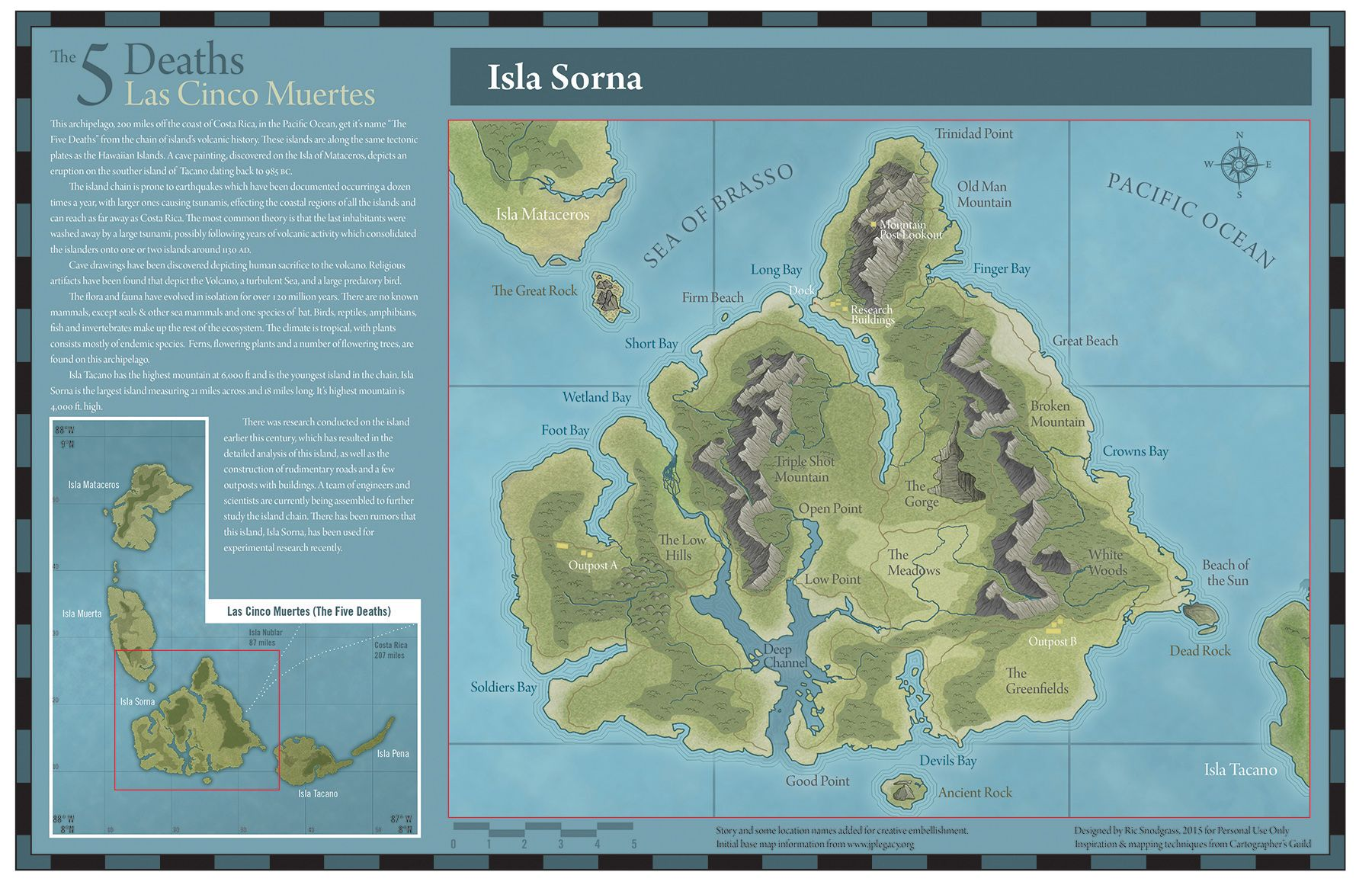 Isla Sorna from Jurassic Park 2/3 by Ric Snodgrass - my third attempt at a fantasy map