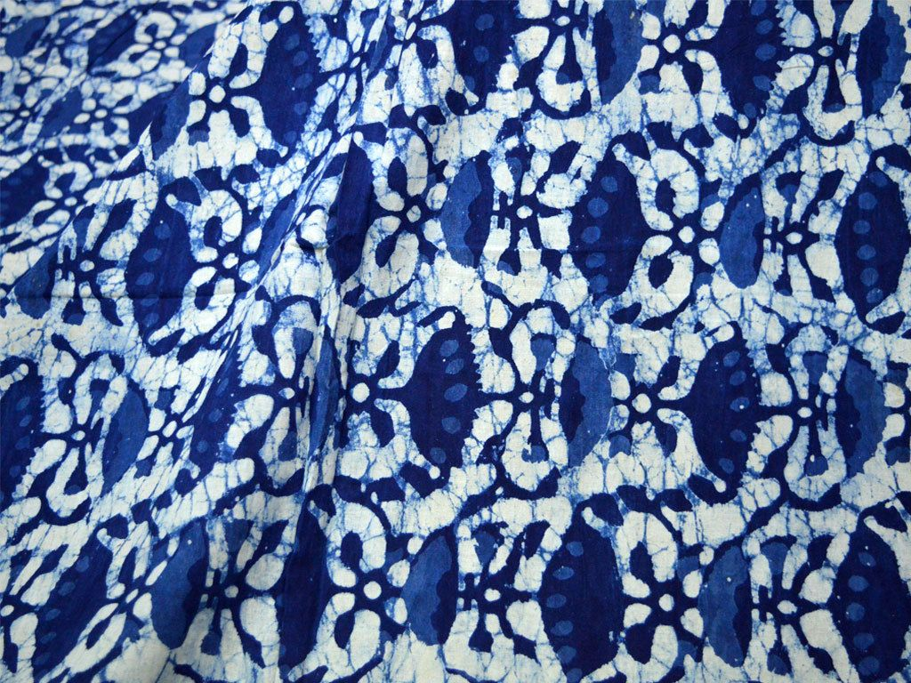 Indigo fabric Vegetable dyed Block Printed Cotton Indigo Blue and White Cotton Fabric Leaf Print Hand Stamped Sold by Yard dress material