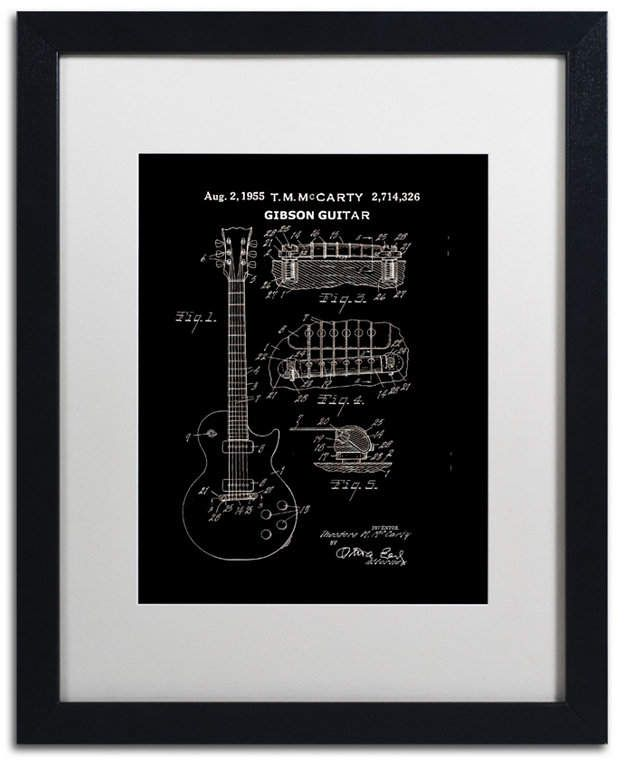Claire Doherty '1955 Mccarty Gibson Guitar Black' Matted Framed Art - 16 x 20 #gibsonguitars