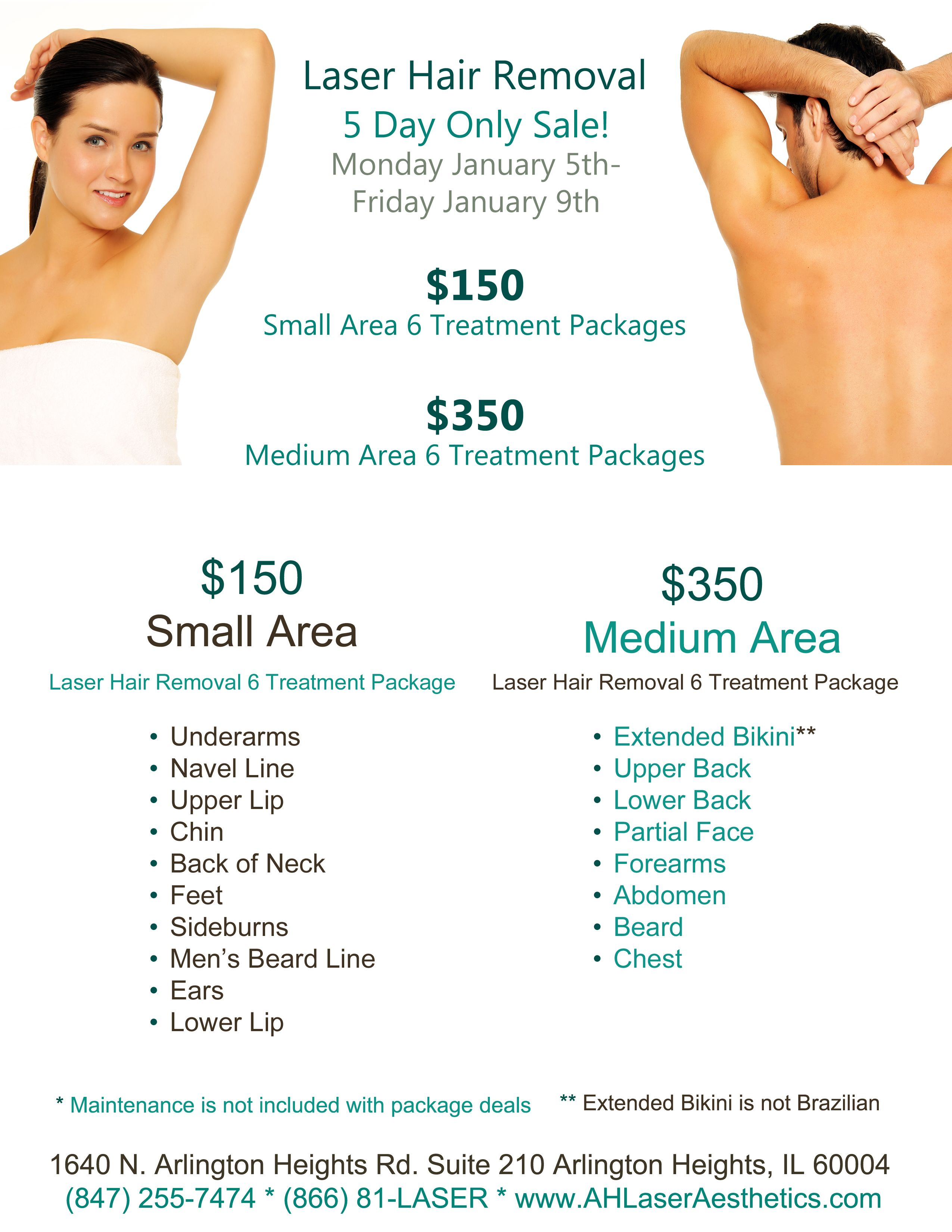 Laser Hair Removal 6 Treatment Bundles For Only 150 Or