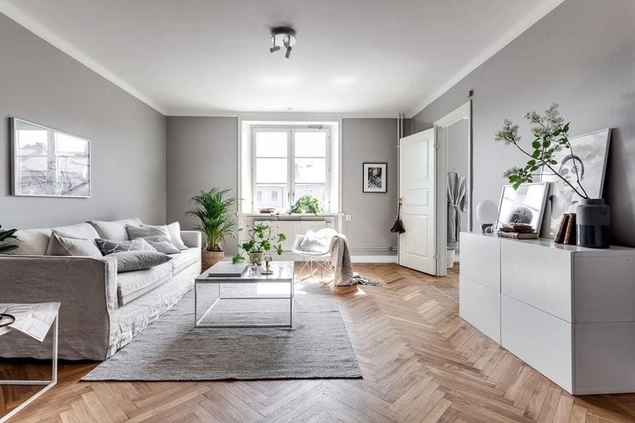 Sal n con paredes en gris mueble recibidor colores - Muebles low cost ...