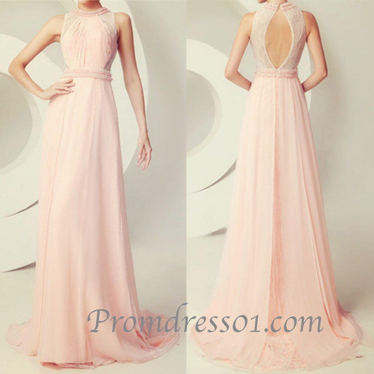 Elegant high neck open back senior prom dress long ball gown
