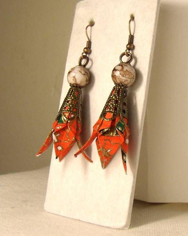 Iris (01I3CBr) - pendants d oreilles - Origami-fleurs - Fait Maison