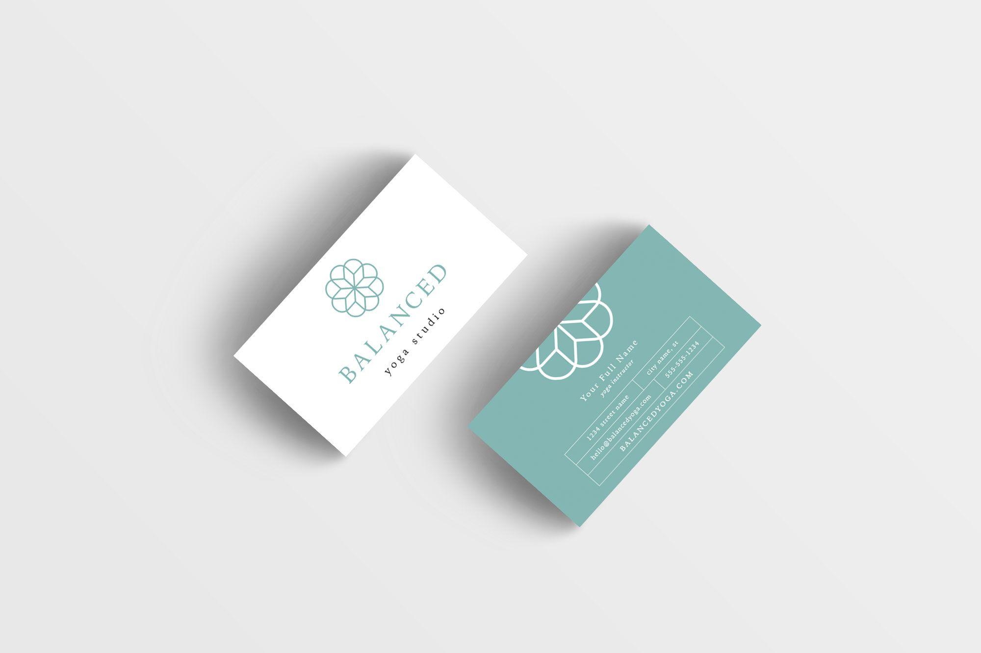 Business card design yoga studio business card design premade balanced yoga business card design reheart Gallery