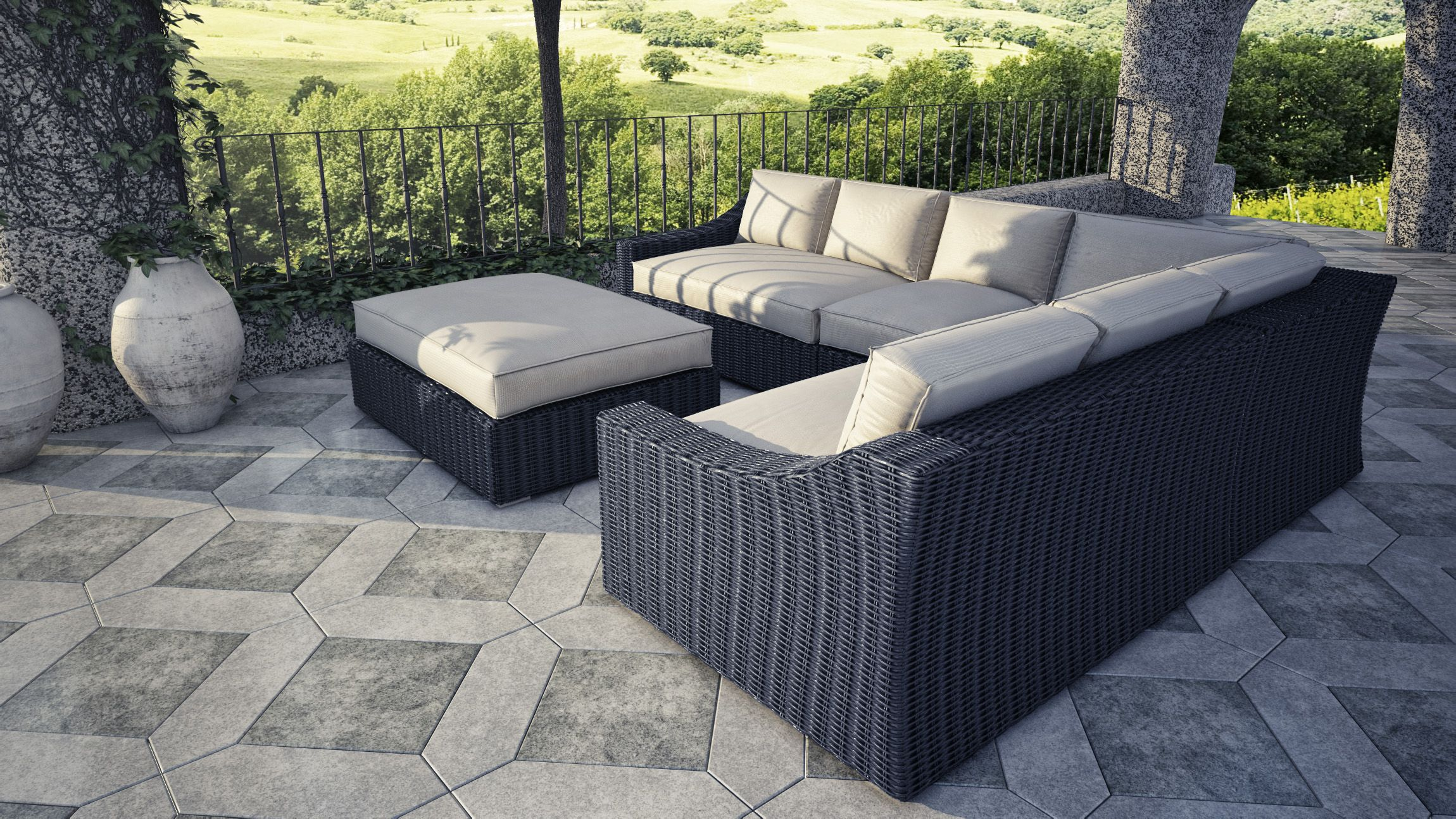 Tuscan Sectional Set Includes Left Arm 56 X41 X28 Right Arm 56 X41 X28 Corner 41 X41 X28 Wicker Patio Furniture Outdoor Sofa Sets Outdoor Patio Furniture
