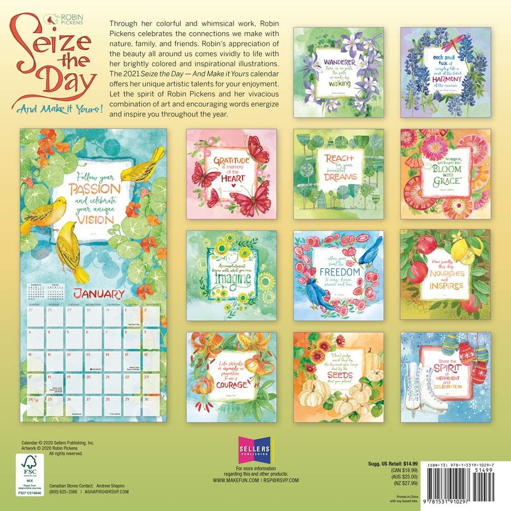 2021 Seize The Day 16 Month Wall Calendar Pickens Robin 9781531910297 Amazon Com Books In 2020 Wall Calendar Pickens Inspirational Illustration