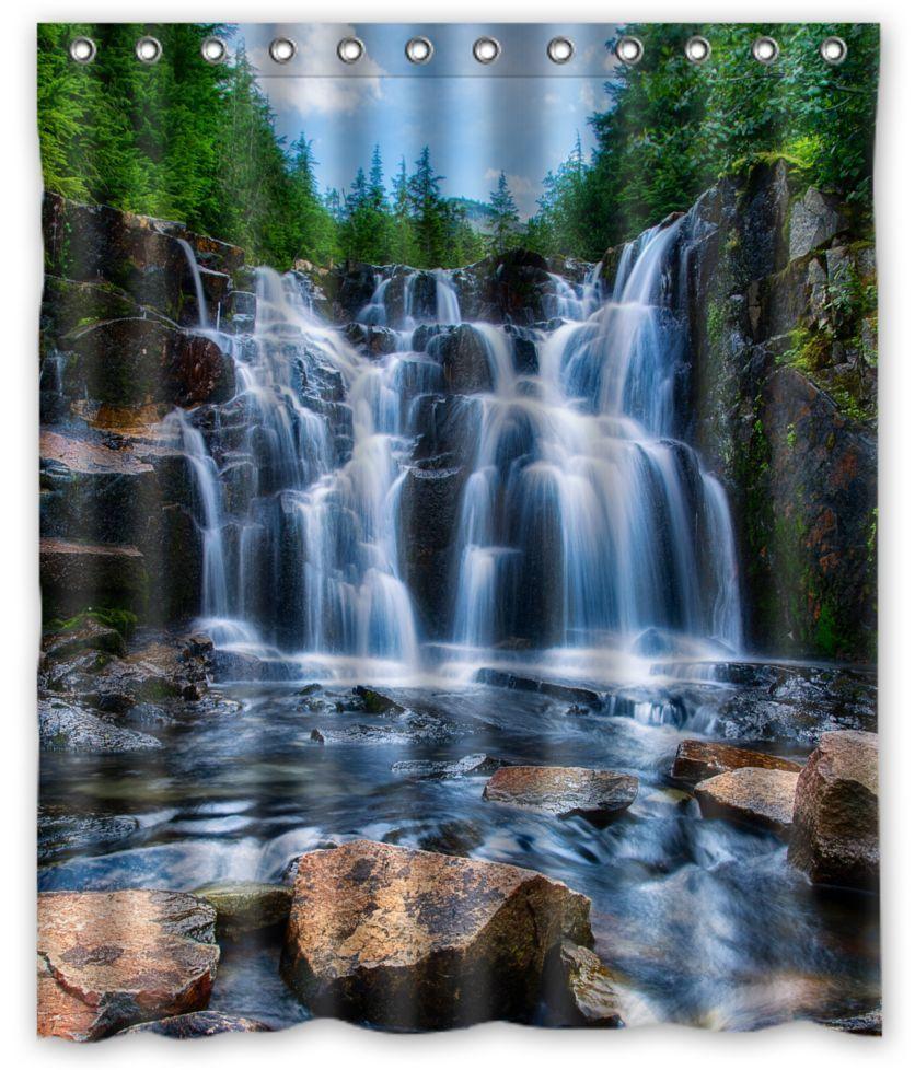 Waterfall Shower Curtain Durable Fabric Design Waterfall Shower