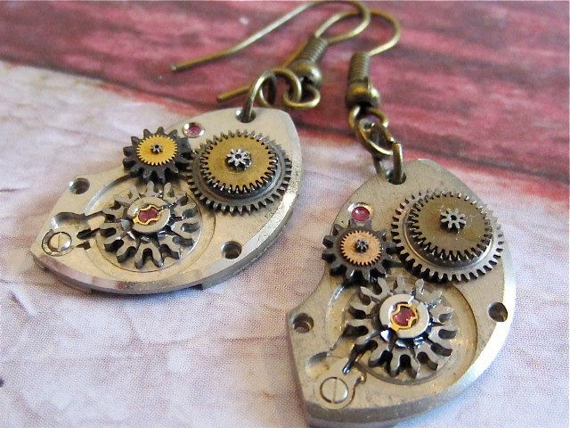 Figurative Energy  VII - Steampunk Earrings - Repurposed earring art.