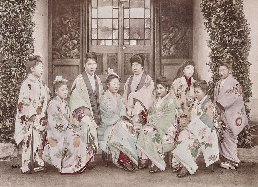 """Misnamed """"Pleasure girls"""" sold into a life of misery. From brothel misnamed """"tea-house"""" """"Nectarine"""" in Yokohama. Euphemisms to cover the ugliness of Old Japan for poor women."""