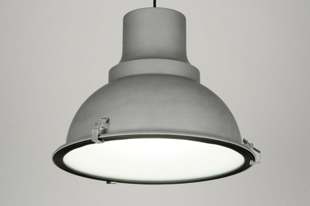 Hanglamp modern retro industrie look metaal grijs