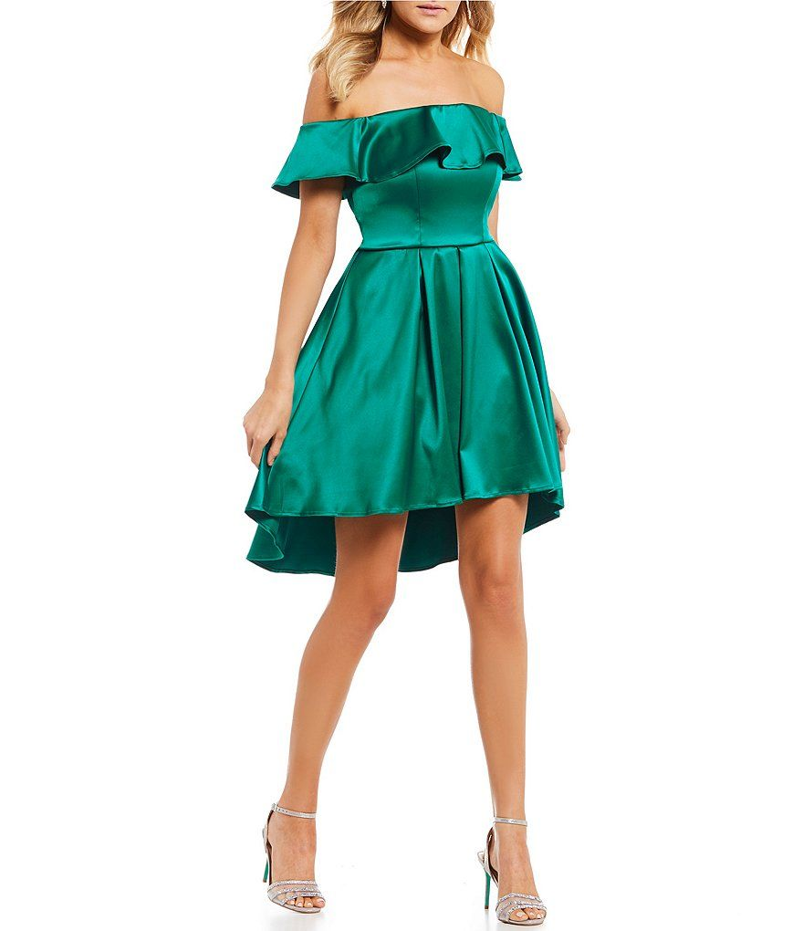 e02c0cb4 Sequin Hearts Off-The-Shoulder Ruffle Satin Fit-And-Flare Dress ...