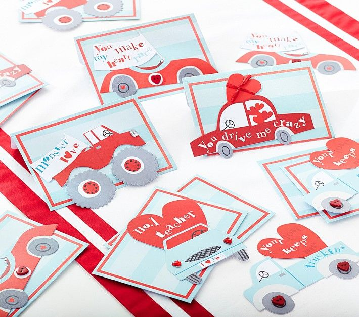 Cute Car Themed Class Valentines Day Card Set Sweet Valentines – Class Valentines Cards