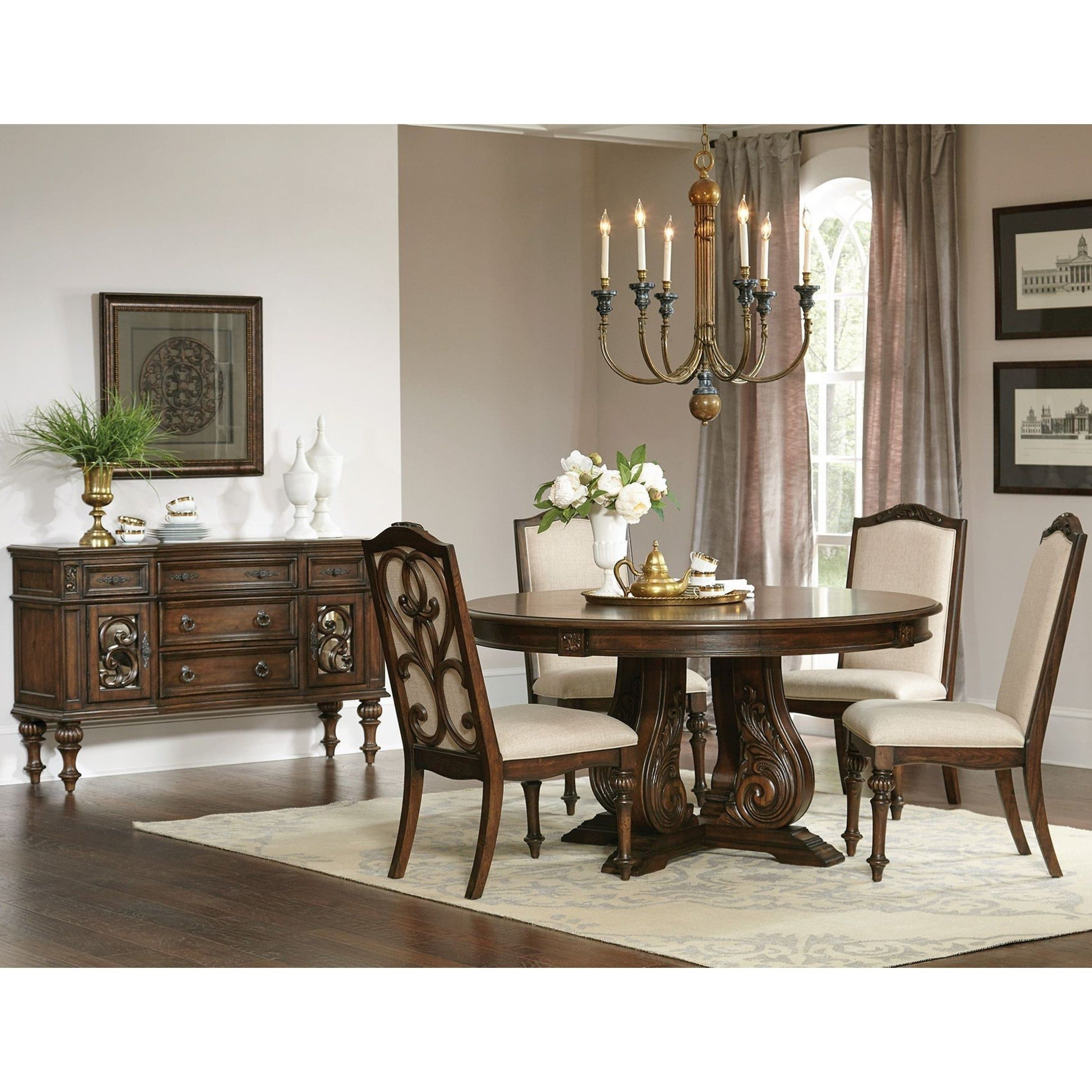 La Bauhinia French Antique Carved Wood Design Round Dining Set